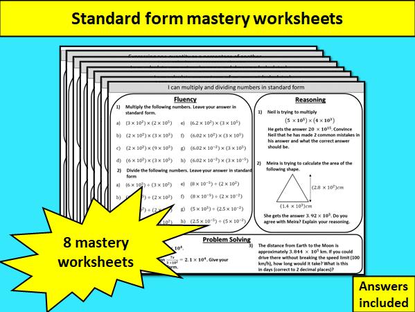 Standard form - mastery worksheets