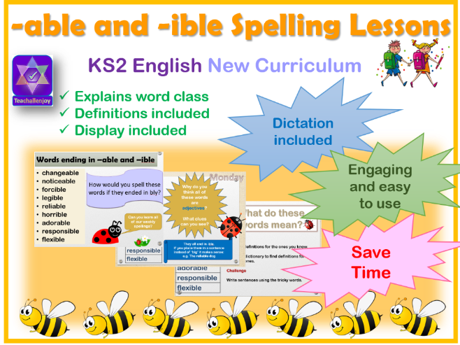 Year 5/6 Week of Spelling Lessons and Dictation -able -ible endings