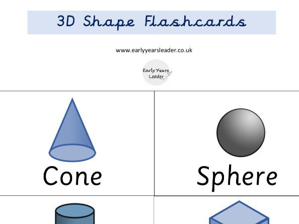 Maths Geometry 3D Shapes Flashcards Year 1 2 3 4 5 6