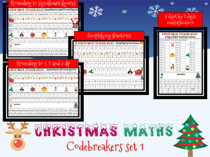 Christmas maths: codebreakers (Rounding dp & sig fig, simplifying fractions, 4 by 2 multiplying)