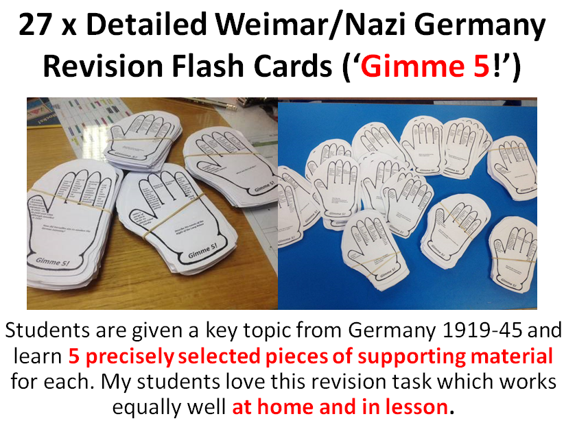 Germany 1919-45 Revision Flash Cards ('Gimme 5')