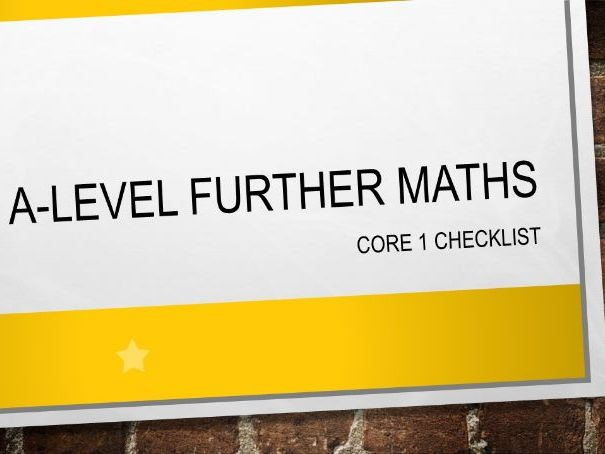 A-Level Further Maths Core 1 Pure Topics Checklist