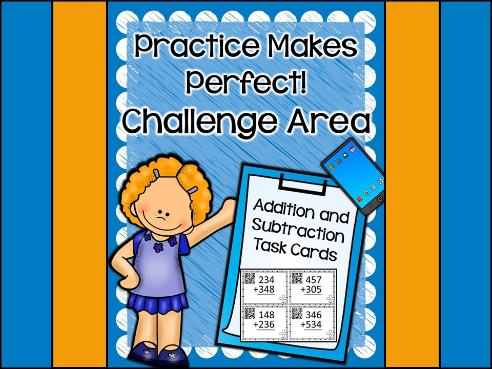 Challenge Area: Addition and Subtraction Task Cards QR Codes {Write On Wipe Off}