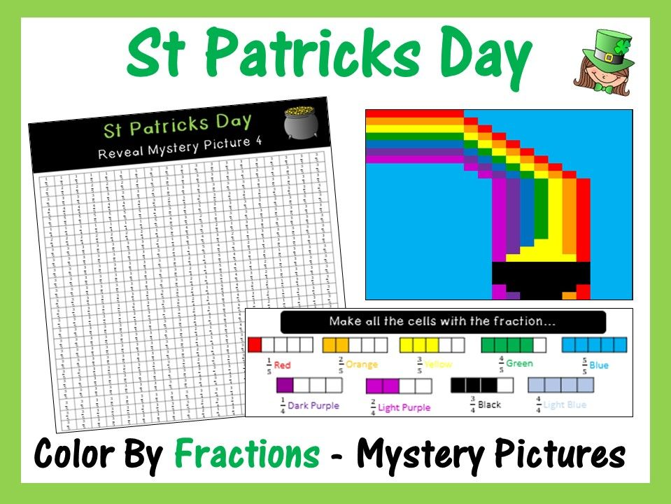 St Patricks Day - Color By Fractions (Reveal 6 Mystery Pictures)
