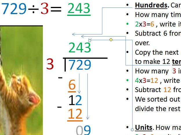 Understand long division. Animated, colour coded. 4 examples including decimals.