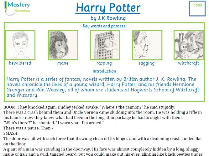 Harry Potter and the Philosopher's Stone by J.K. Rowling Comprehension KS2