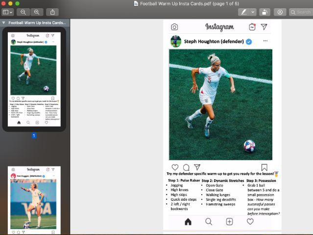 Student Led Warm Up Cards Football Specific (Instagram Style)