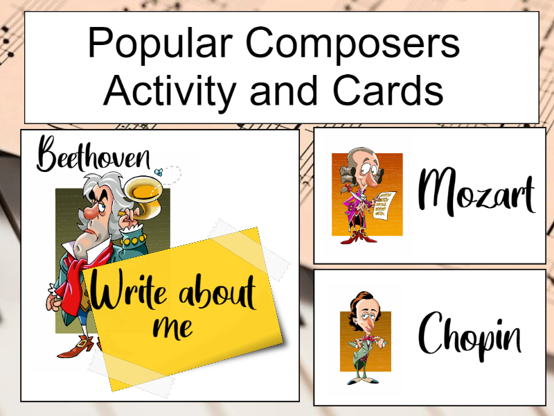 6 Popular Composers Caricature Activity and Cards