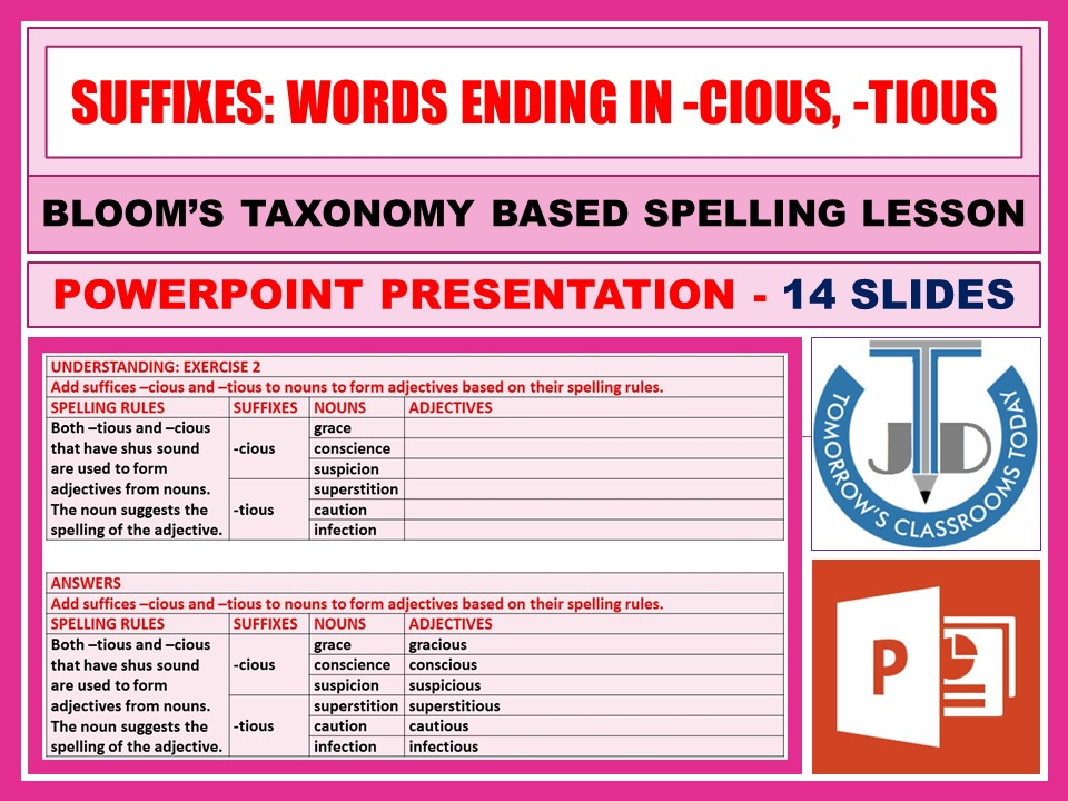 SUFFIXES: WORDS ENDING IN -CIOUS, -TIOUS - POWERPOINT PRESENTATION - 14 SLIDES