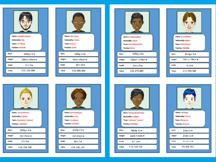 Mathematical operations footballing top trumps for Lower KS2