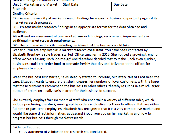 OCR Cambridge Technical Lv 3 In Business - Unit 5: Marketing and Market Research - Assessment Tasks