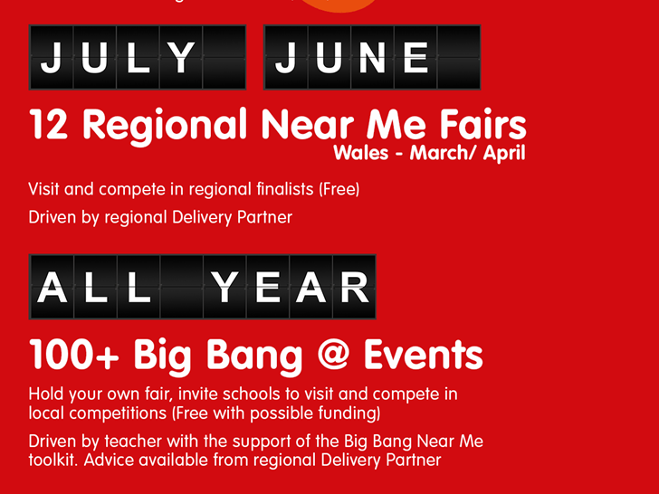 Flyer for 'Big Bang Near Me' science and engineering fairs