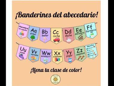 Spanish Alphabet display classroom bunting-Alphabet/Alfabeto/abecedario con palabras banderines
