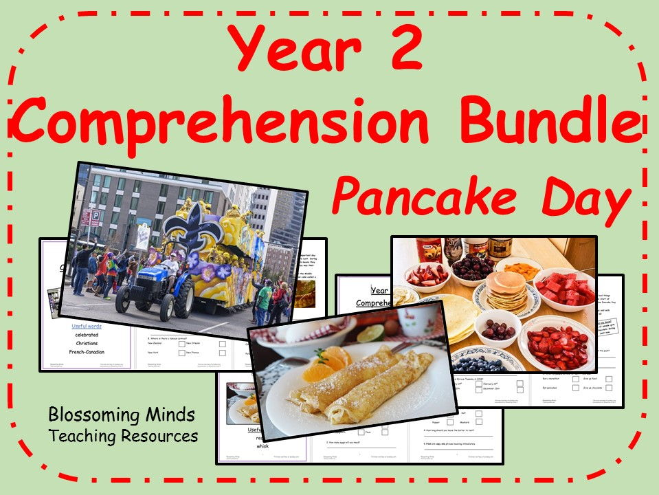 Year 2 Comprehension Bundle - Pancake Day (Shrove Tuesday/Mardi Gras)