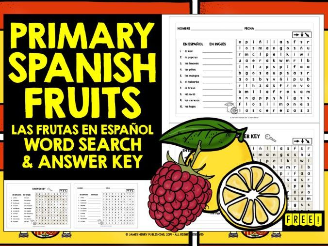 PRIMARY SPANISH FRUITS WORD SEARCH FREEBIE