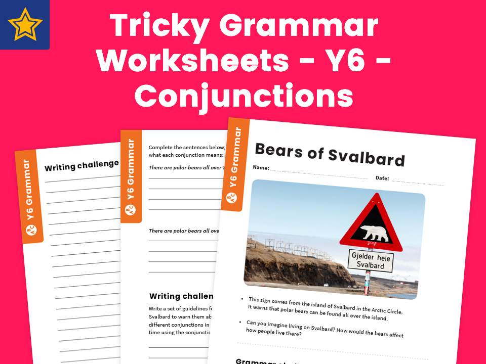 tricky grammar worksheets y6 conjunctions by teach primary teaching resources. Black Bedroom Furniture Sets. Home Design Ideas
