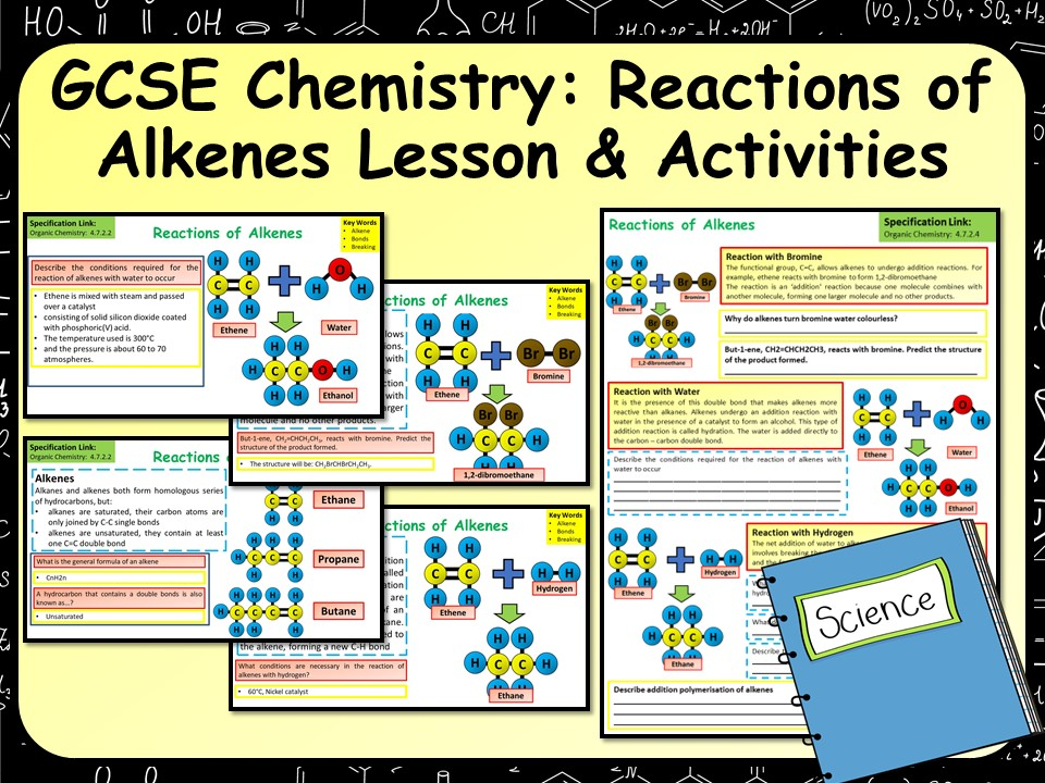 KS4 AQA GCSE Chemistry (Science) Reactions of Alkenes Lesson & Activities