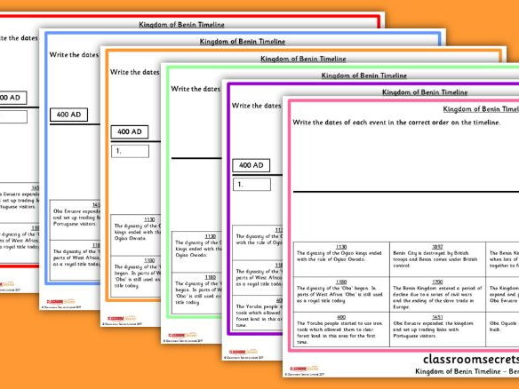 KS2 Kingdom of Benin Timeline Worksheets