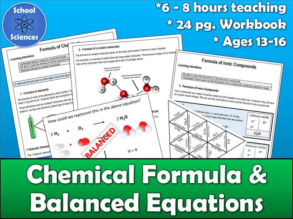 Chemical Formula and Balanced Equations - Pupil Workbook