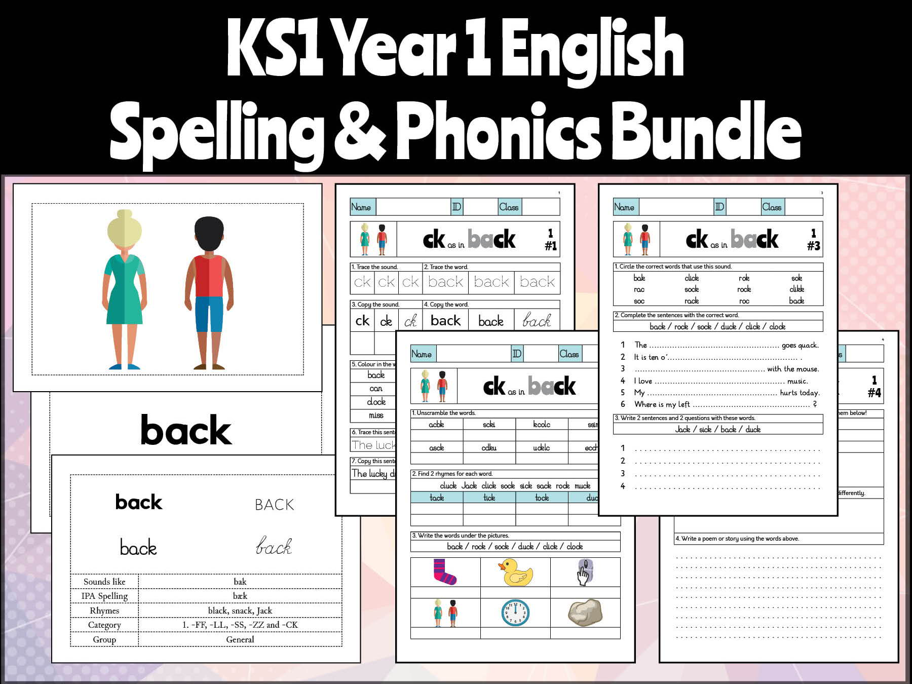Key Stage 1 English Year 1 Phonics and Spelling Bundle