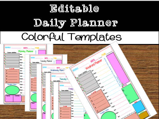 Editable Daily Planner colorful Templates(The House of Education)