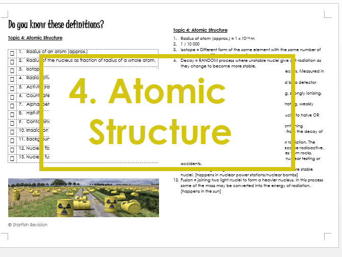 AQA GCSE 9-1 Physics: REVISE YOUR DEFINITIONS! Topic 4: Atomic Structure