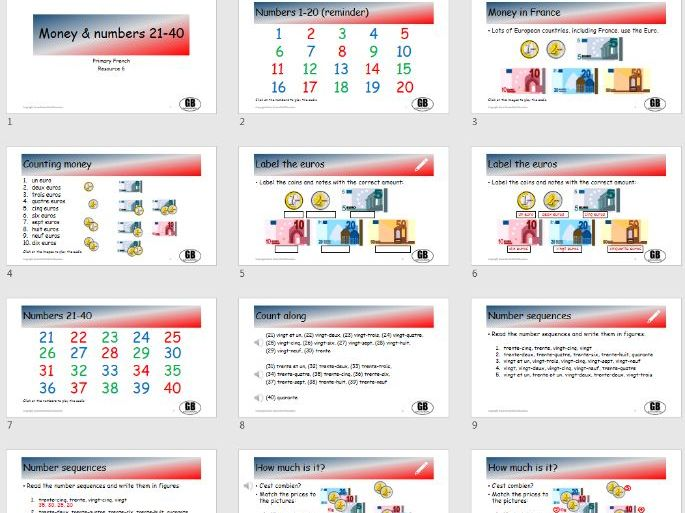 Money and numbers 21-40 (Primary French 6)