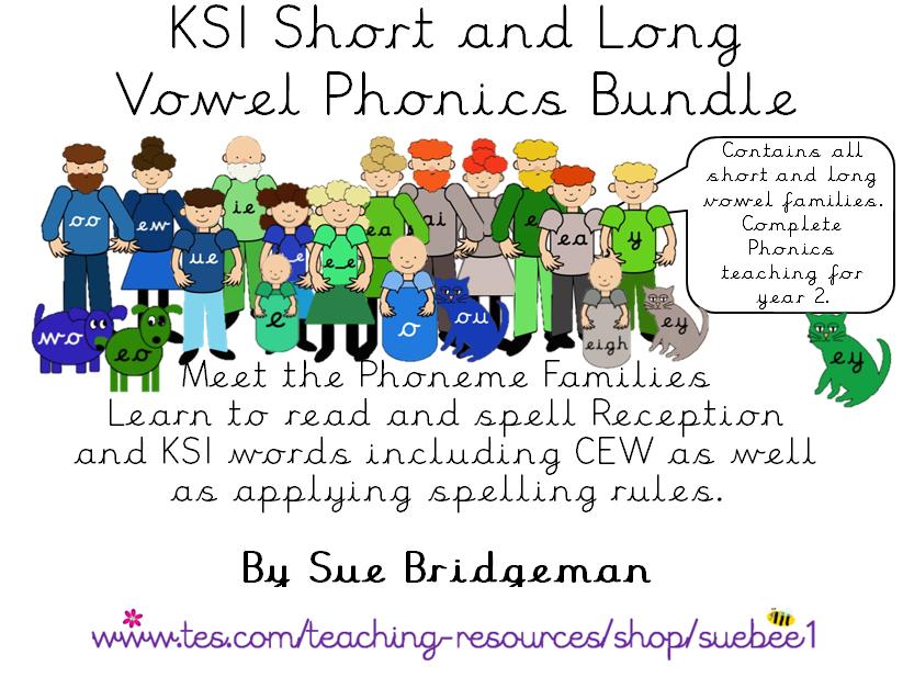 Phonics - The long and short vowel Phoneme Families complete set