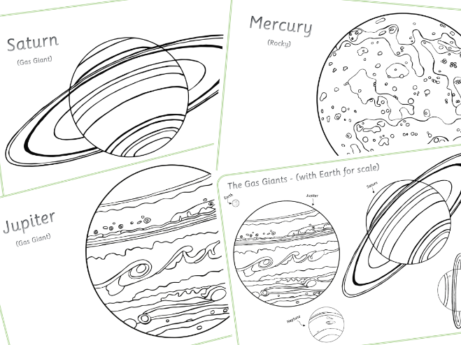 UNEDITABLE PDF Planets Colouring Sheets
