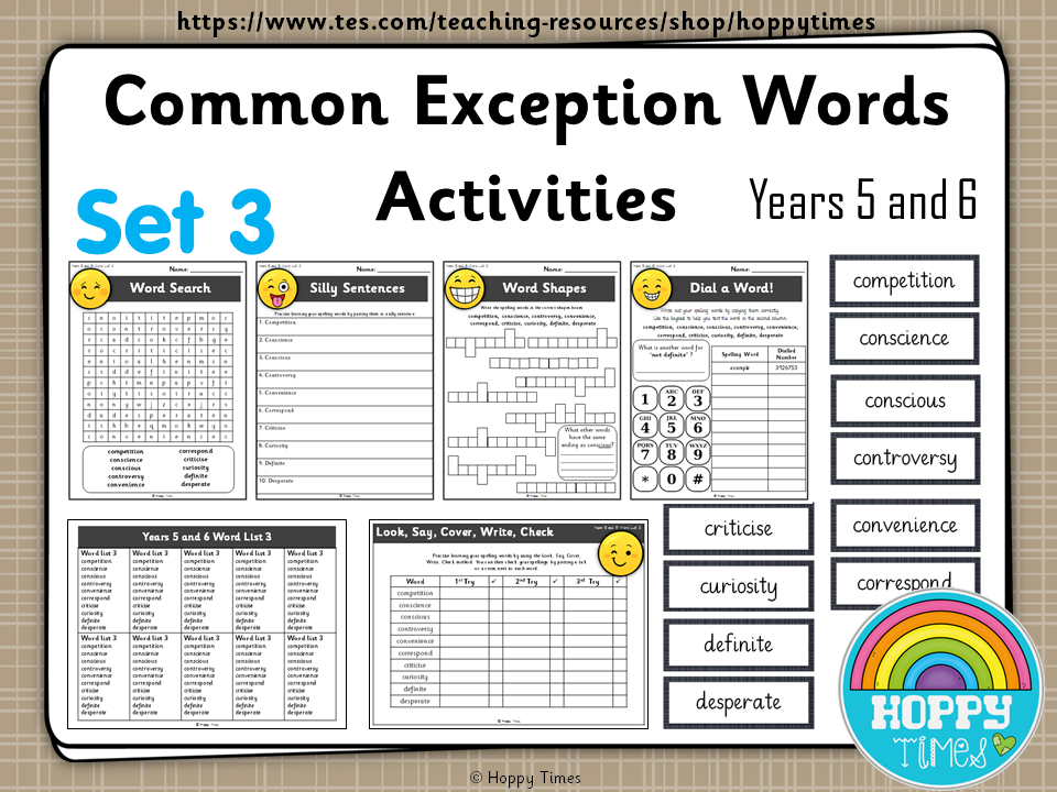 Year 5 / 6 Common Exception Words Spelling Activities ( set 3)