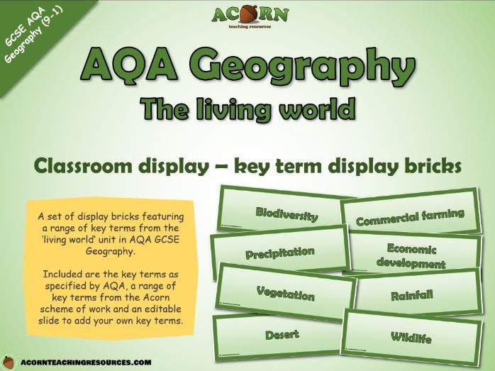 Geography - key term bricks - The living world