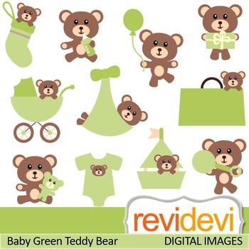Clip art Cute Baby Teddy Bear (green, nursery) clipart