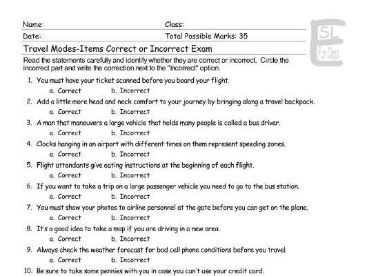 Travel Modes-Items Correct-Incorrect Exam