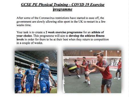 COVID-19 Exercise plan - GCSE PE Physical Training