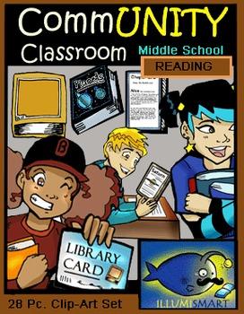 CommUNITY Classroom Middle School Literacy Set: 28 pc. Clip Art!