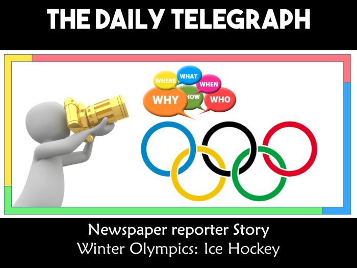 Winter Olympic Games South Korea PyeongChan 2018 Newspaper Writing Scenario