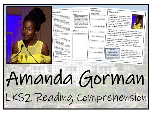 LKS2 Amanda Gorman Reading Comprehension Activity