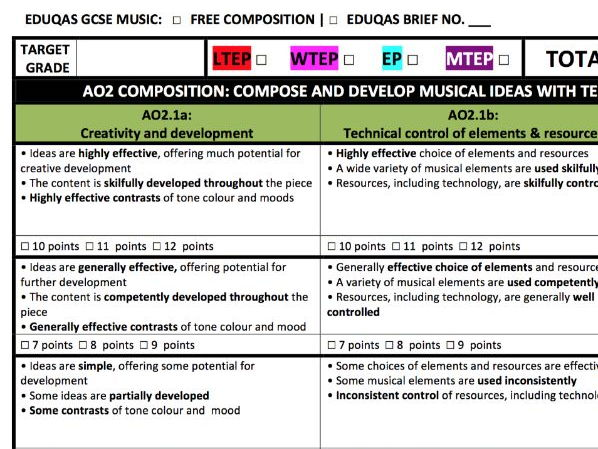 Eduqas GCSE Music: SA/PA/TA Assessment Rubrics