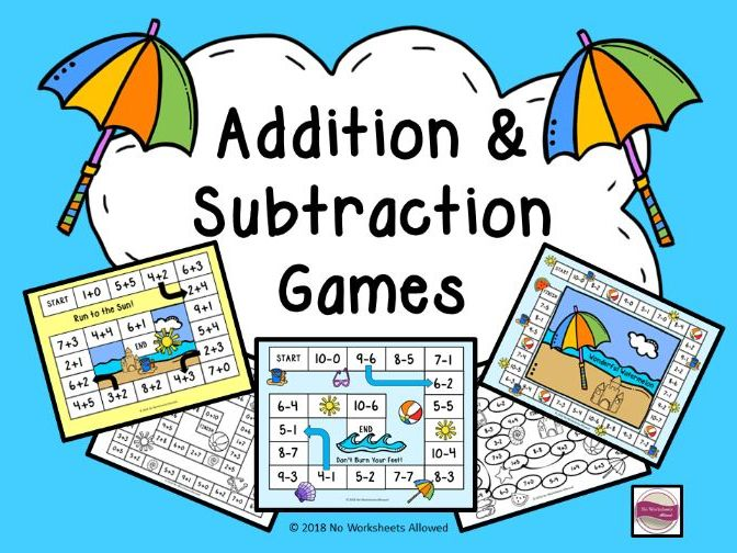 Addition & Subtraction Games: Beach Theme