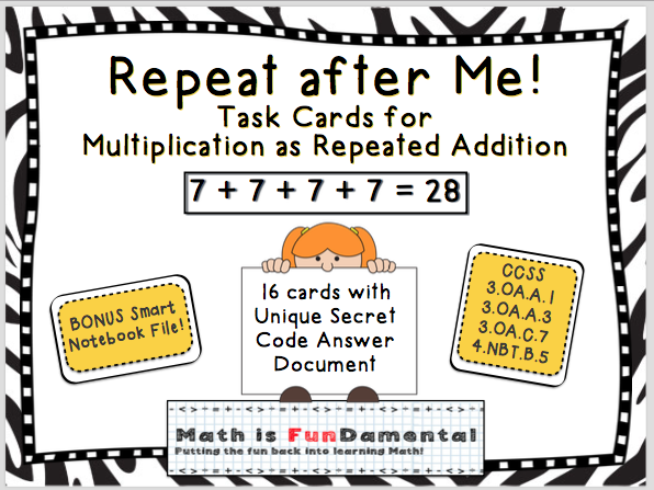 Repeat after Me! Task Cards for Multiplication as Repeated Addition