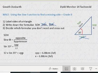 Introduction to Using Trig Ratios to find a missing side (Grade B)