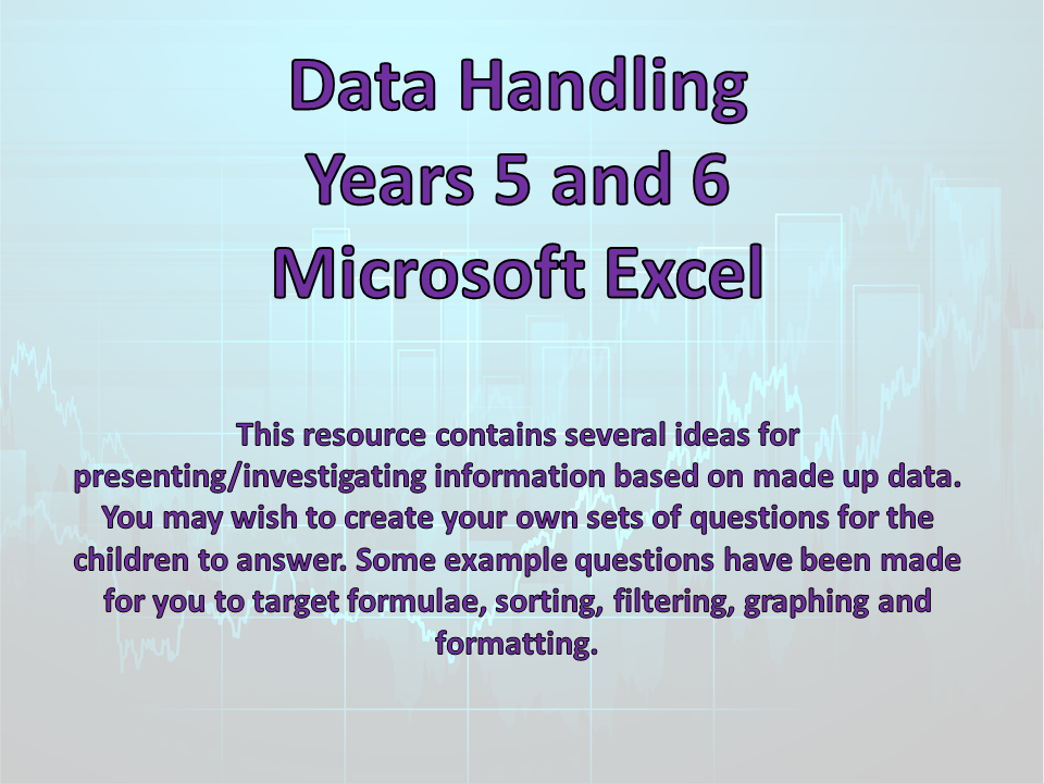 Data Handling - Formulae - Excel Spreadsheets - Computing