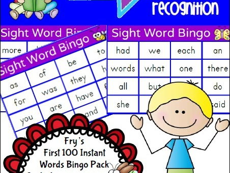 Sight Word Bingo Pack – Fry's First Hundred Words