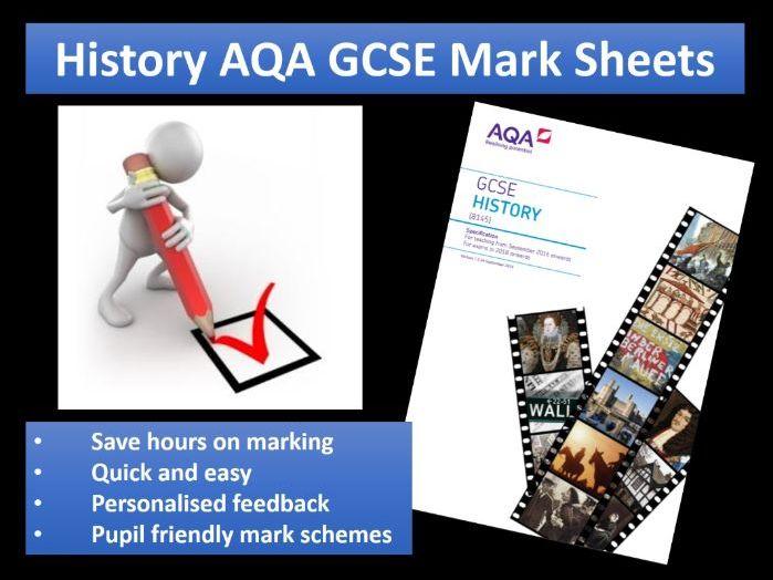 History AQA GCSE Mark Sheets