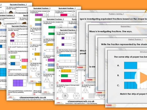 Year 4 Equivalent Fractions 1 Spring Block 3 Step 2 Maths Lesson Pack
