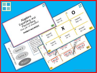 Algebra Expand Factorise One Pair of Brackets Noughts and Crosses PowerPoint Games
