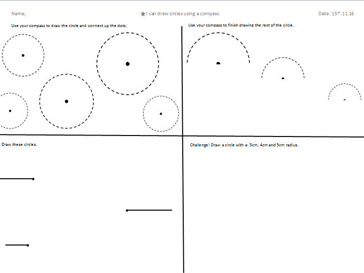 Drawing Circles Using a Compass - Learning Mat by rltjackson ...