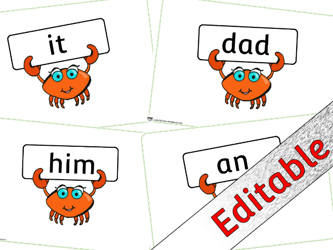 Phase 2 Words - Cute Crab theme - Editable