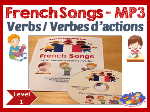 French Immersion - 10 Songs in MP3 & Song booklet - Learn verbs/ actions words