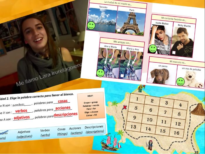 Spanish - Presentations, Introductions, Greetings. Video and games